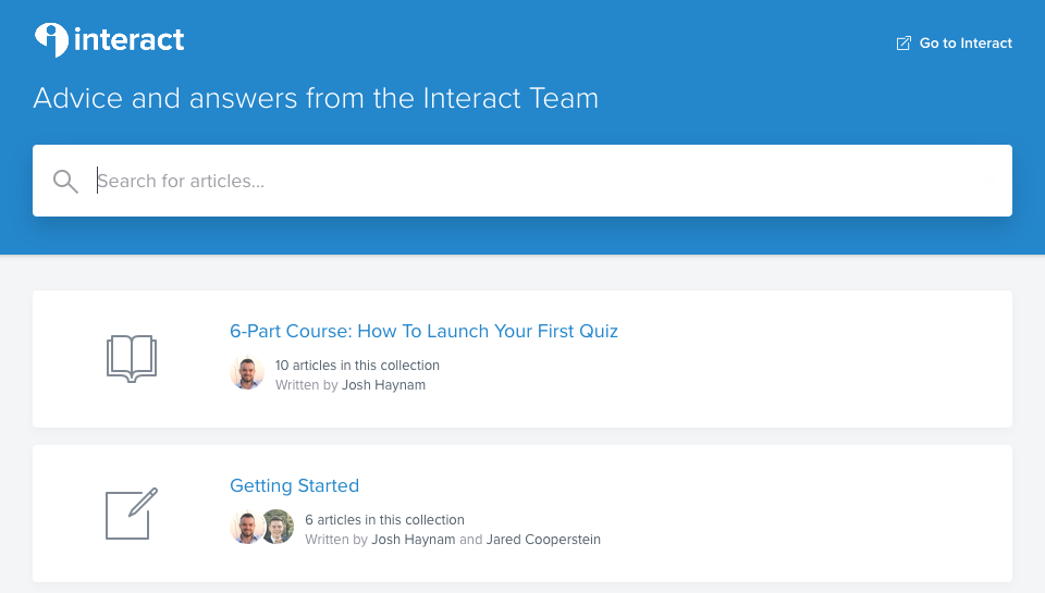 The help center at TryInteract.com