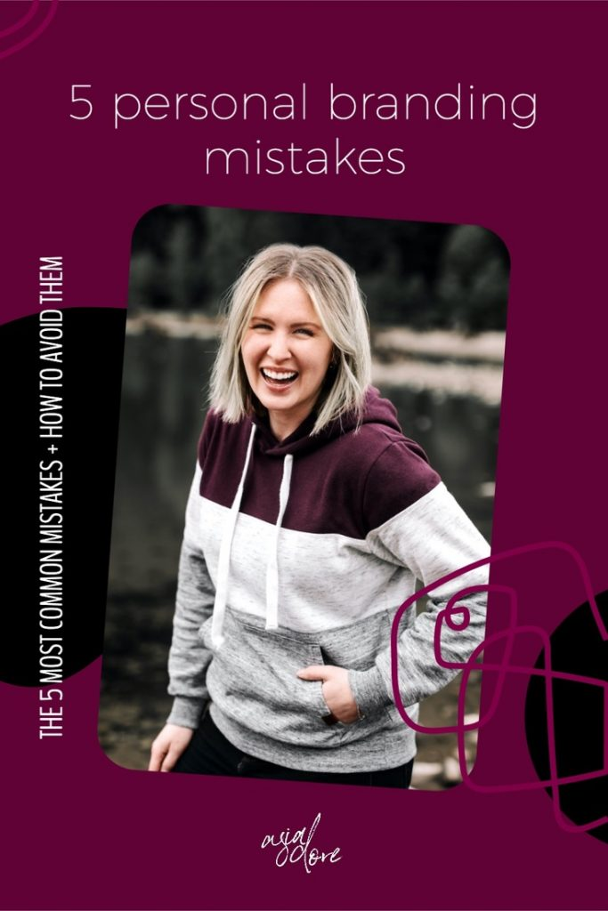 Blonde woman near a lake laughing and looking at the camera. Her left hand is in her sweatshirt pocket. With text - 5 personal branding mistakes. The 5 most common mistake and how to avoid them