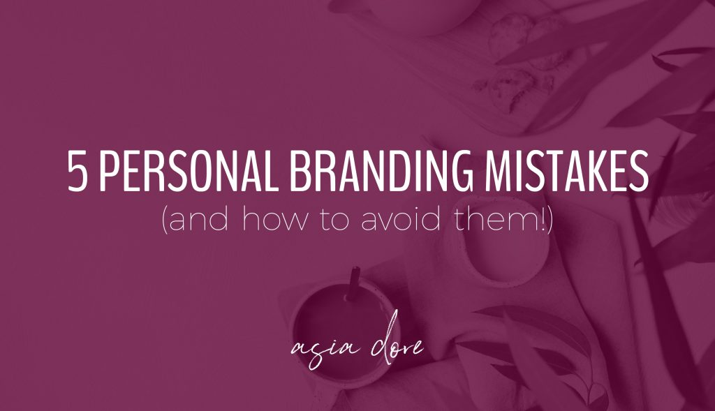 A cup of tea, cream, and cookies next to eucalyptus on a table with text - 5 personal branding mistakes and how to avoid them