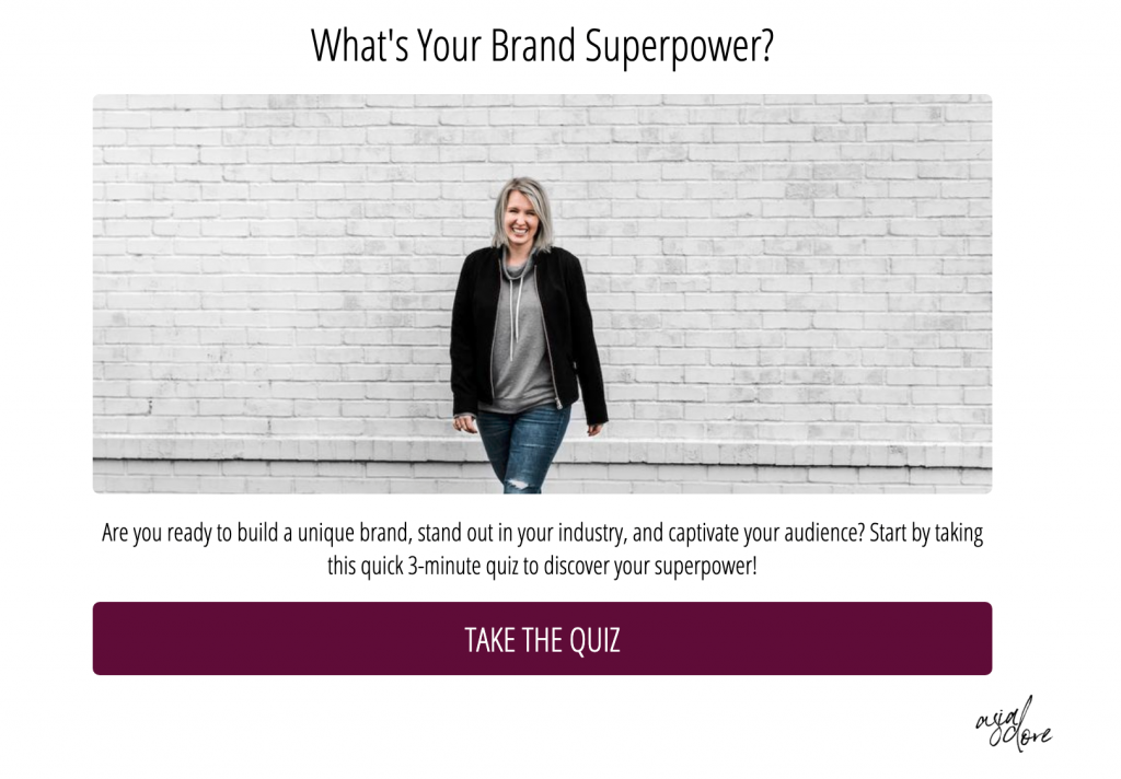 The cover photo for the Asia Dore brand superpower quiz, made on tryinteract.com