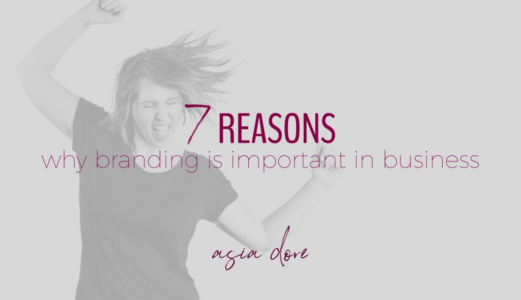 A girl jumping up with raised arms and a big smile with text - 7 reasons why branding is important in business