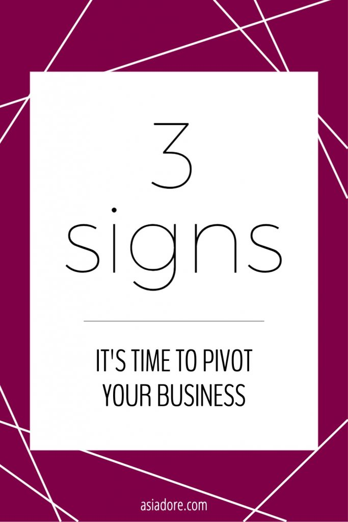 Graphic with text - 3 signs it's time to pivot your business
