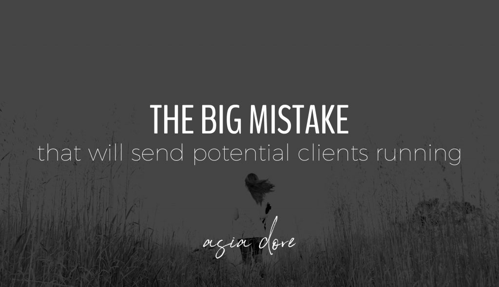 A woman with long hair running away in an open field with text - the big mistake that will send potential clients running