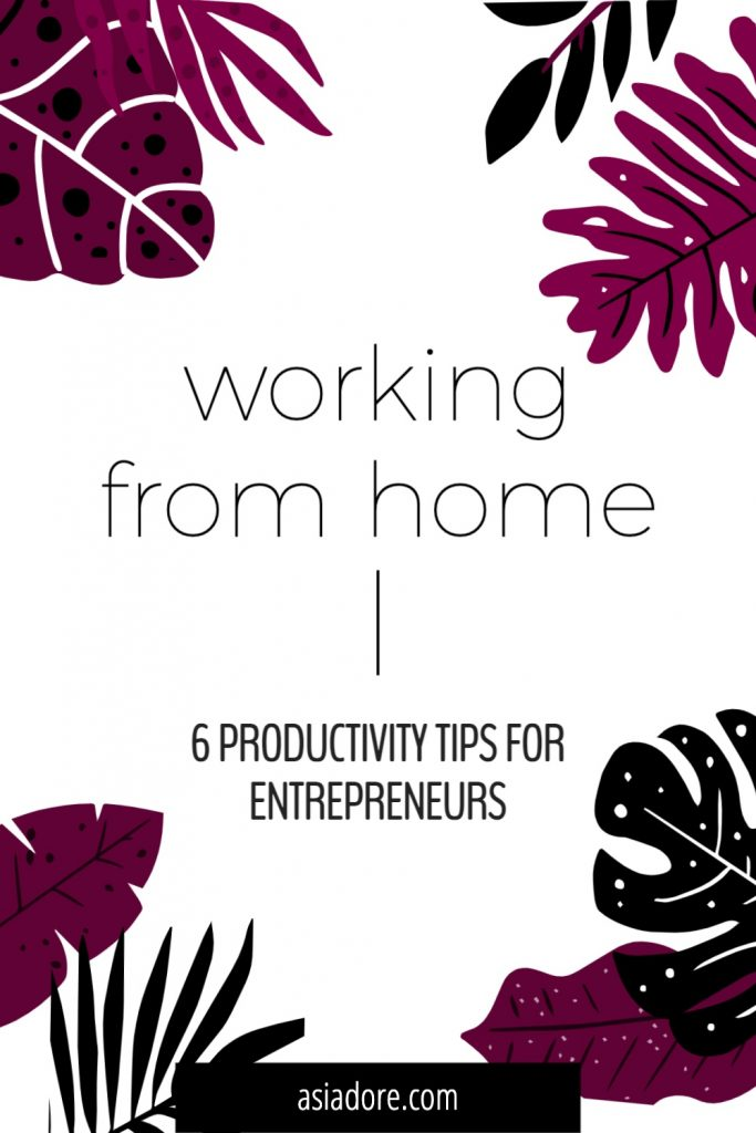Illustrated tropical leaves with text - working from home, 6 productivity hacks for entrepreneurs