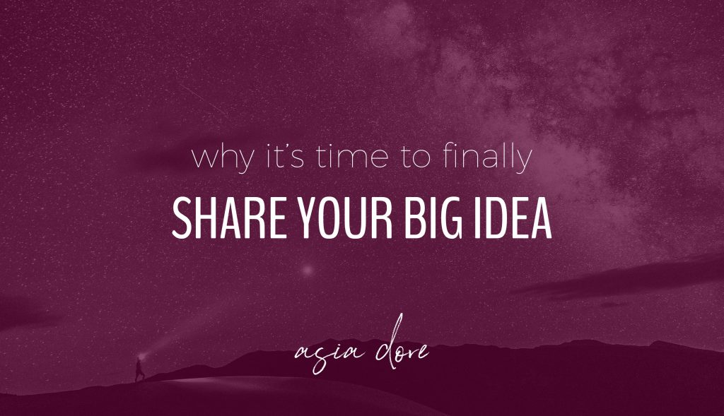 A person way in the distance looks up to the stars above with a headlamp on. With text - why it's time to finally share your big idea