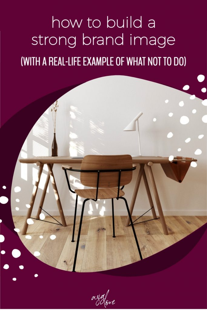 A clean, modern desk and chair sit against a wall. The sun is coming through the blinds. With text - how to build a strong brand image with a real-life example of what not to do.
